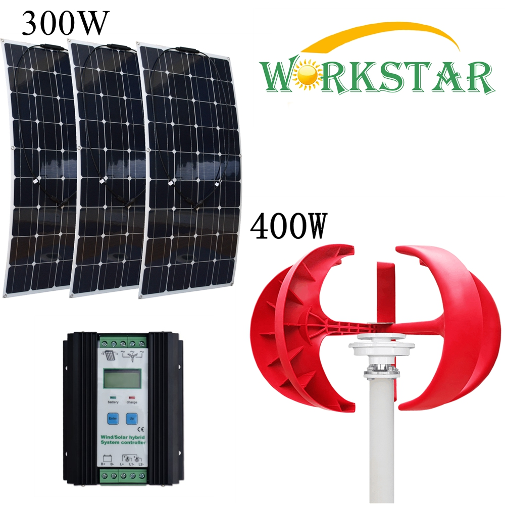 3pcs 100W Solar Panels and 400W Vertical Wind Generator with 40A Wind Solar Hybrid Controller House Solar Power System