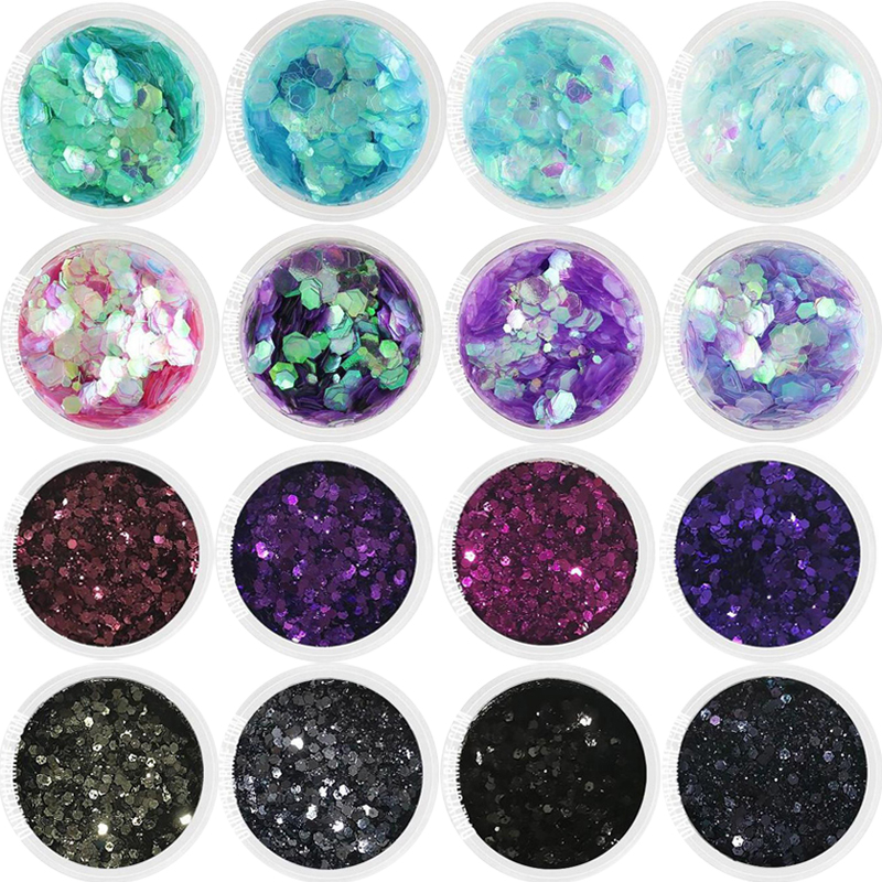 1Box 10ml Nail Art Glitter Hexagon Flakes 16Color For Eye Face Body Shiny Sequin Decor 0.2-2mm