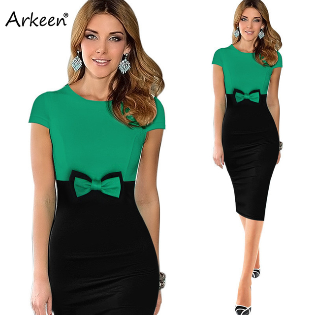 Patchwork Bow Knot Casual Green Dress Summer Women 2017 Ceremony ...