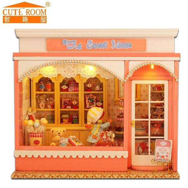 Doll house furniture miniatura diy doll houses miniature dollhouse wooden handmade toys for children birthday gift  E002