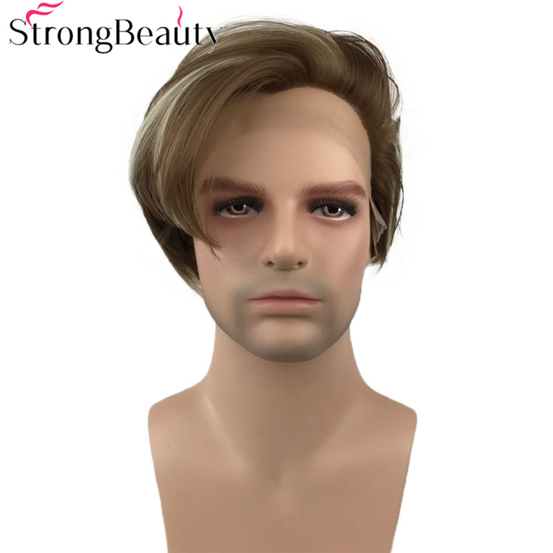 StrongBeauty Synthetic Lace Front Wig Medium Length Natural Straight Wigs Grey White Brown Hair