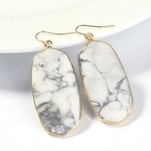Wholesale 10 Pair Gold plating  White  Turquoise oval earrings elegant women's earring