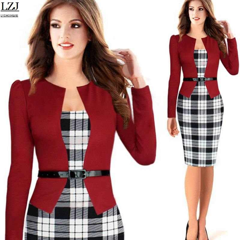 LZJ Women s Fall Winter Elegant Patchwork Slim Casual Work Office Party  Bodycon Pencil Jacket Dress vestidos 72ebe9091735