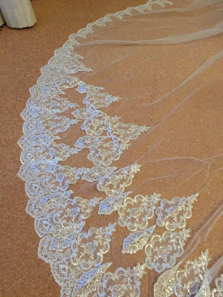 2017 Hot Real Bridal Mask Sloss 4 Meter 2T White & Ivory Sequins - Bröllopstillbehör - Foto 3