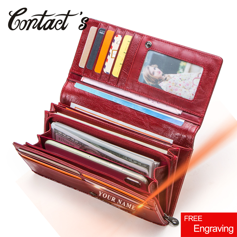 f189834ac4c2 Contacts Clutch Wallet Women Genuine Leather Ladies Purse Handbag Coin Cell  Phone Pocket Quality Long Money Bag Brand Designer