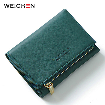 WEICHEN New Trifold Ladies Wallet With Zipper Coin Bag Card Holder Brand Designer Green Women Wallets Fashion Female Short Purse new arrival cartoon wallets with zipper coin pocket attack on titan dragon ball adventure time short wallet with card holder