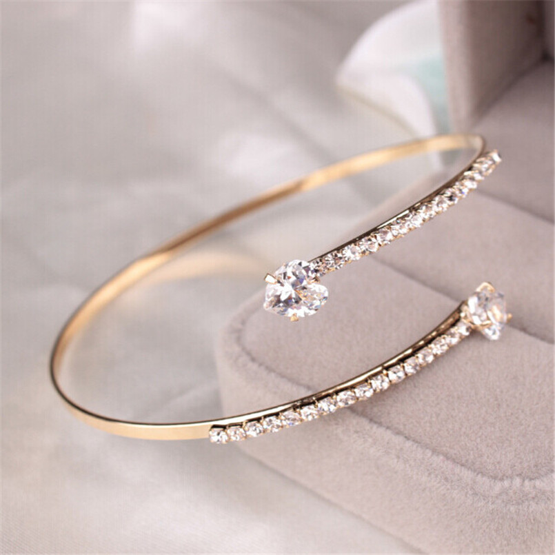Lady Elegant Crystal Angel Wings Zircon Love Hearts Bangle Bracelet Adjustable11.8