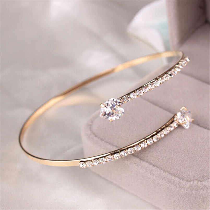 Lady Elegant Crystal Angel Wings Zircon Love Hearts Bangle Bracelet Adjustable 1183