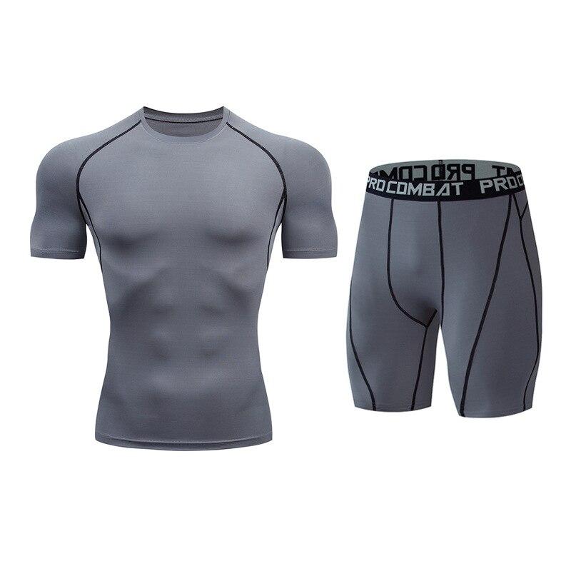 Для мужчин костюм модные компрессионная рубашка для фитнеса Однотонная футболка с короткими рукавами+ Шорты Для мужчин костюм мышцв, бодибилдинг одежда - Цвет: tz4