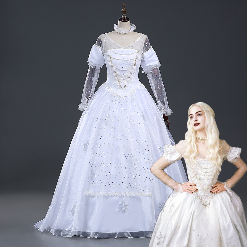 Ainiel Custom Made Alice in Wonderland The Queen White Cosplay Costume Halloween Party Dress for Female Women and Grils