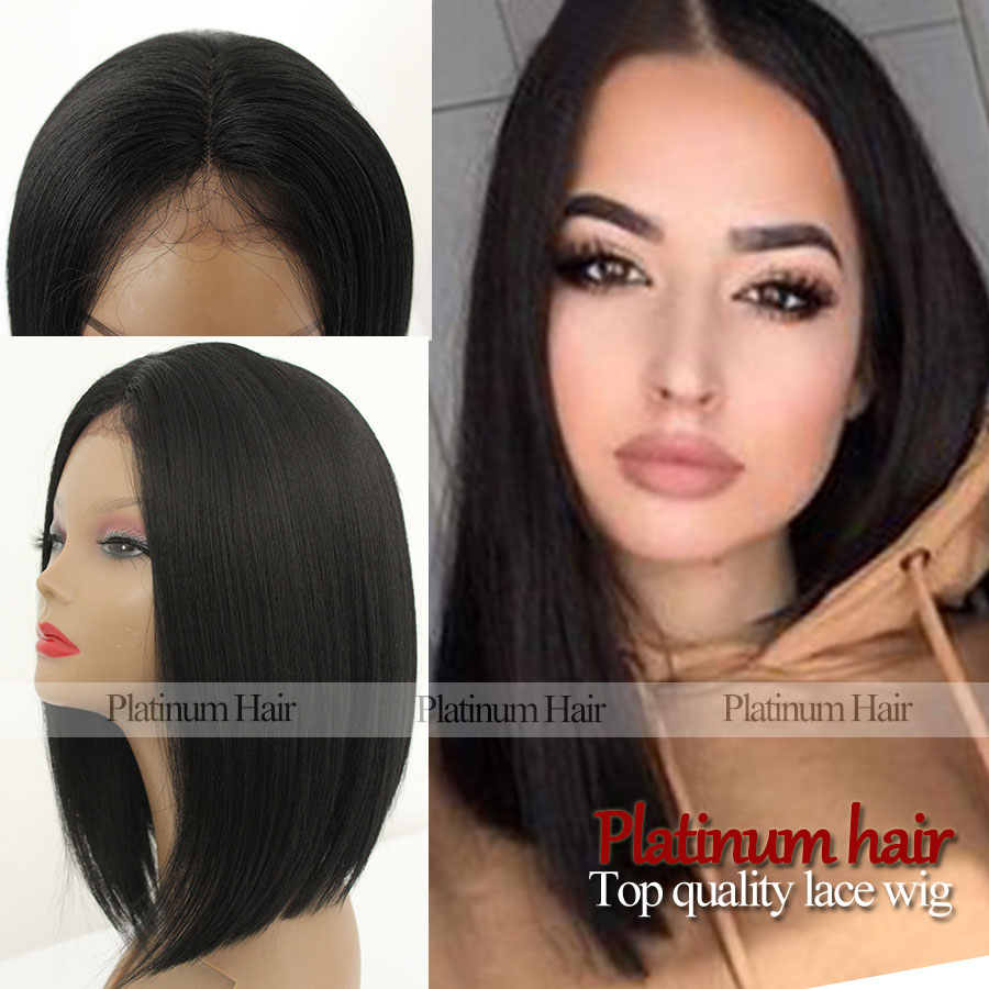 2016 Fashion Short Black Bob Wig Afro African American Wigs Glueless For  White Black Women Synthetic Lace Front Bob Hair Wigs b82439ff0359