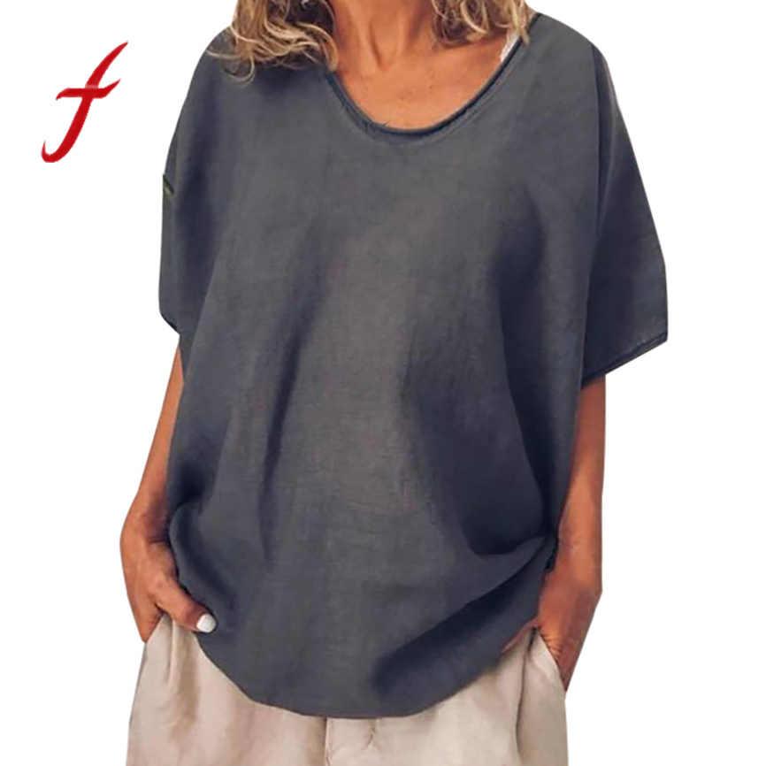 夏 tシャツ女性新着女性のカジュアルルーズコットントップ 4 色バティック半袖無地プラスサイズのシャツ女性