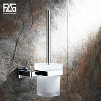 FLG Toilet brush holder Wall Mounted Square Glass Cup Bathroom Accessories Chrome Bathroom Hardware
