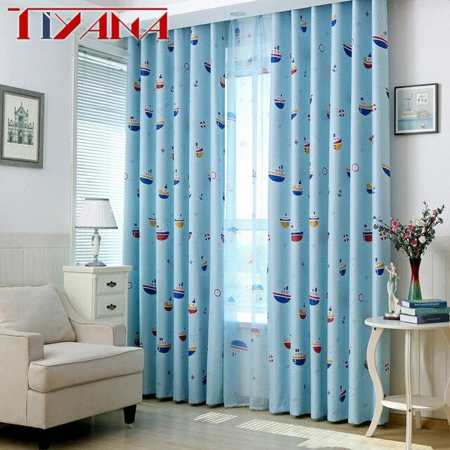 blauw cartoon verduisterende gordijnen voor kinderkamer afgewerkte gordijn stof tule voor jongens kamer cortina in de