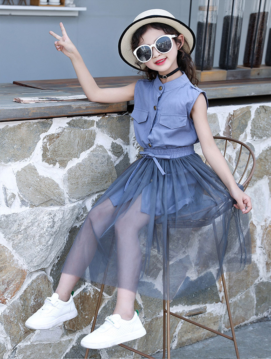 HTB1HdyFh13tHKVjSZSgq6x4QFXaa - Kids Girls Clothes Set Solid Dress + Mesh Skirt Girl Summer Clothes Teenage Kids Children Clothing 6 8 10 12 13 14 Year