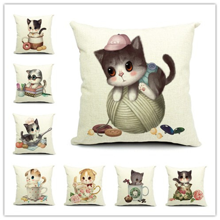 Fashion 45*45cm Cute Cats Cushion Cover Animal Digital Printed Cotton Linen Pillows Home Use Wedding Decorative Pillowcase