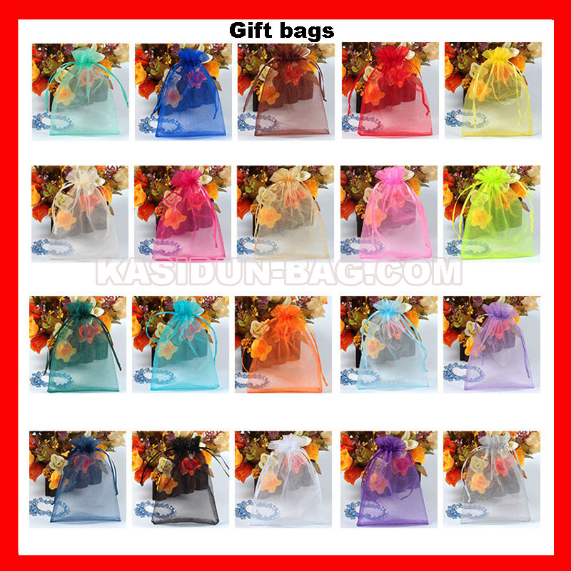 (1000pcs/lot) 4 sizes available wholesale QUALITY transparent organza gift bags