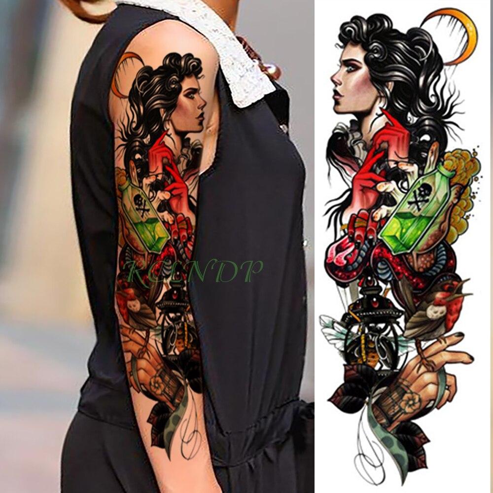 Temporary Tattoo Sticker Large Size Body Art Sketch Flower: Waterproof Temporary Tattoo Sticker Beauty Girl Moon Full