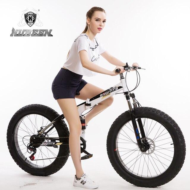 """(RUSLAND) 26 """"inch 7/21/24/2 speed vouwen vet fiets dubbele schijfremmen mountainbike big band sneeuw bike Voor mens en wome"""