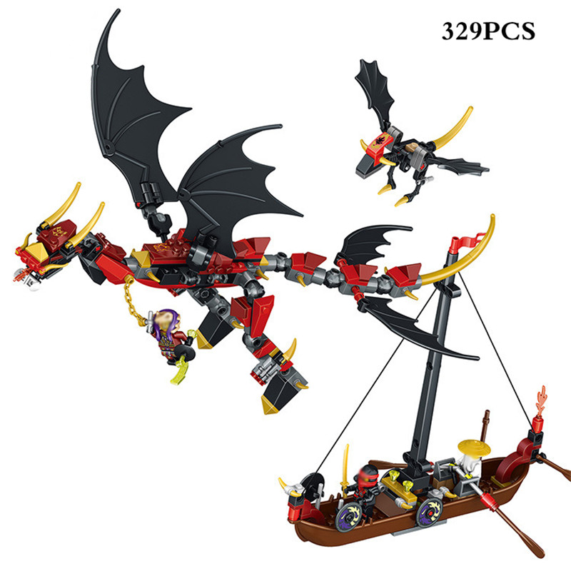 329pcs Ninja Flying Dragon Figures Boat Model Building Blocks Compatible Legoings Ninjagoes DIY Bricks Toys For Children Gifts