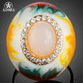 AZORA Multicolour Oval Egg Gold Plated Stellux Austrian Crystal Oil Painting Pattern Adjustable Size Ring TR0152