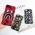 Moda bape tiburón case para iphone 7 6 6 s plus tiburón bape ejército teléfono case cover para iphone 6 6 s duro mate pc de coque Fundas