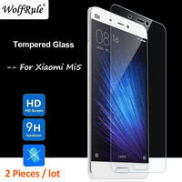 WolfRule 2PCS Glass sFor Xiaomi Mi5 Screen Protector Tempered Glass For Xiaomi Mi5 Protective Phone Film Glass Mi 5 < >