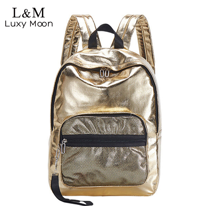 Glitter Backpack School-Bags Rucksack Fashion Teenage-Girls Bling Women Zipper for Preppy-Style