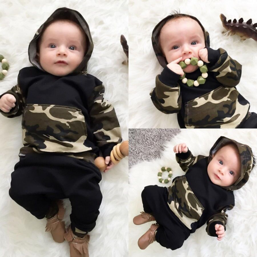 2018 autumn baby boys girls clothes set outfits camouflage tops