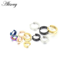 Alisouy Small Hoop Earrings Silver Gold 316L Stainless Steel Hoop Earring for Women Men Ear Rings Clip Colored Circle Earrings(China)