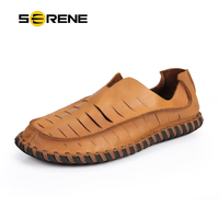 SERENE Flat Shoes Men Casual Shoes Genuine Leather Boat Shoes Unique Cut Outs Design Loafers Soft