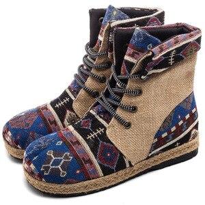 Image 2 - Veowalk 하라주쿠 자수 여성 리넨 코튼 쇼트 앵클 부츠 레이스 업 컴포트 레이디스 플랫 Espadrilles Booties Vegan Shoes