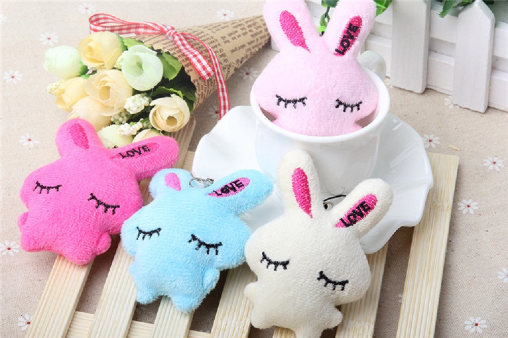 12pcs height 6cm Korea cute and lovable students pendant squinting rabbit plush hanging toy shop promotional married gifts