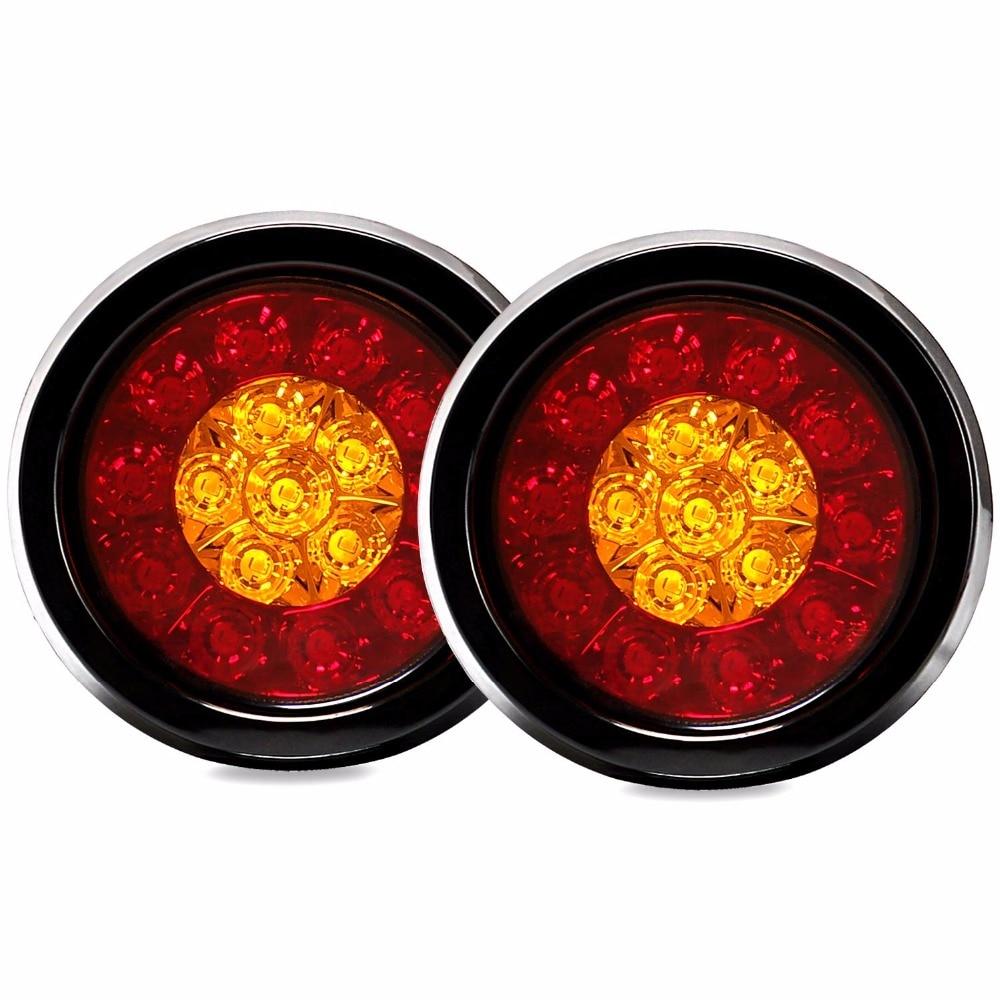 Fuleem 2PCS 4Inch Round LED Amber Red Taillights With Rubber Grommet 16LED 12V Stop Brake Running Reverse Backup Light For Truck