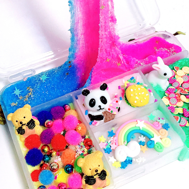 Colorful Mixing Cloud Snow Slime Squishy Anti-stress Kids Sludge Rainbow Cotton Toy For Plasticine Gift Rabbit Panda Slime Toy