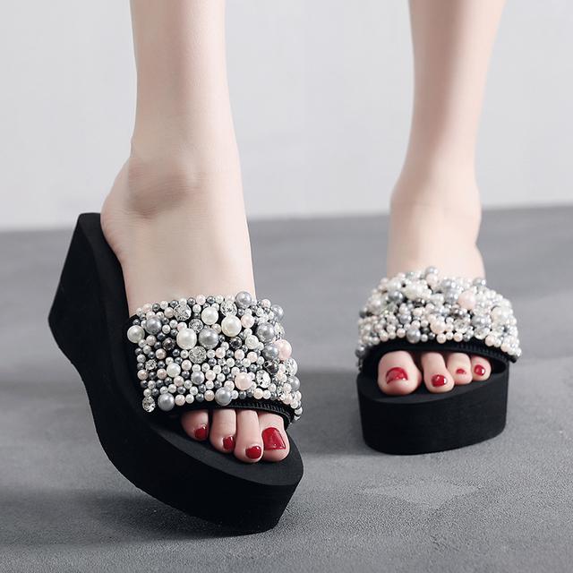 High Platform Pearl Slide Sandal for Women