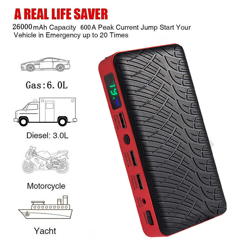 JKCOVER 26000 mAh Car battery Jump Starter Starting Device for car Power Bank Car Charger Batterys Booster Petrol Diesel Buster