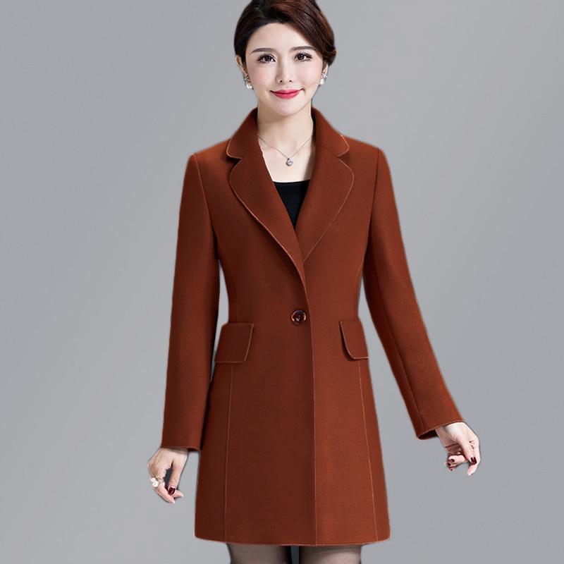 Middle aged Woman Wool Blend Coat High Quality Winter Jacket Women Slim Woolen Coat Casual Long