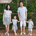 Correspondência da família ourfits camisa listrada jeans casual meninas meninos camisa clássica de mãe e filha pai e filho roupas crianças camisas