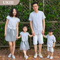 Family matching ourfits striped denim shirt casual girls boys mother daughter classic shirt  father son clothes children shirts