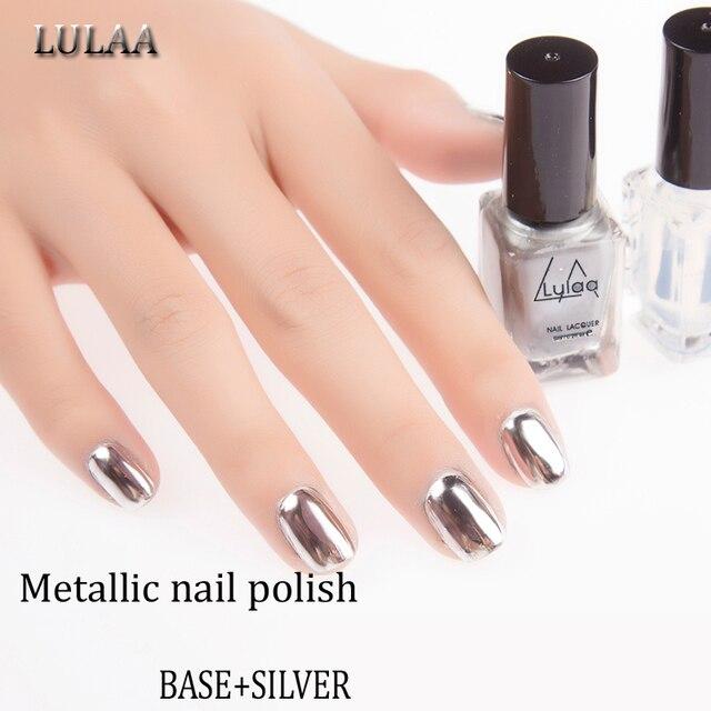 LULAA 2pc/lot 6ml Metallic Nail Polish Silver Mirror Effect Nail ...