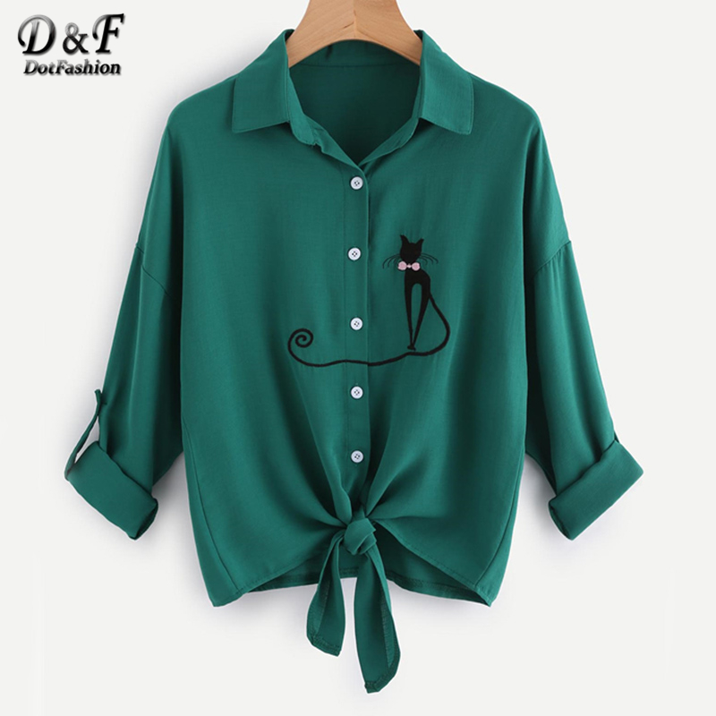 Dotfashion Drop Shoulder Cat Embroidered Knotted Hem Shirt Long Sleeve Blouse 2017 Women Lapel Button Autumn Blouse