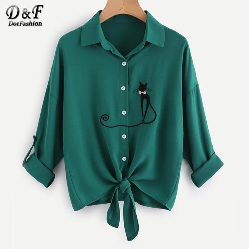 Dotfashion gota hombro gato bordado anudado Hem manga larga Camiseta blusa 2017 mujeres botón de solapa otoño blusa