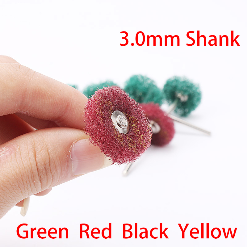 2PCS/Lot 3MM Shank Mini Brush Scouring Pad Abrasive Wheel Nylon Fiber Grinding Sanding Head Buffing Polishing Burnish Die