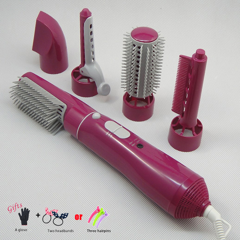 5in1 Hair Straighteners and Curler Multi function Hair Curler Straight Dryer Hair Comb Roller High power