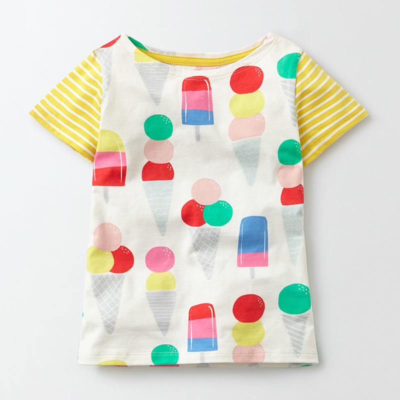 Little Maven New Summer Kids Clothing Short O-neck Colorful Icecream Printed Tee Knitted Cotton Quality Girls Casual Tshirt