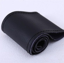 High Quality Auto PU Leather 35-36cm Litchi grain style Car Steering Wheel Covers With Needles and Thread Interior accessories
