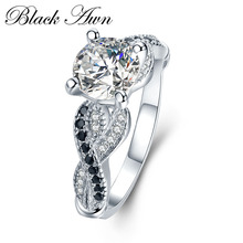 [BLACK AWN] 3.6g 100% 925 Sterling Silver Jewelry Neo-Gothic Row Black Zircon Engagement Rings for Women Wedding Ring C402