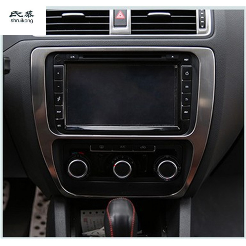 Car Stickers Chrome Trim Or Stainless Steel Center Console SZM Decoration For Volkswagen Vw Jetta MK6