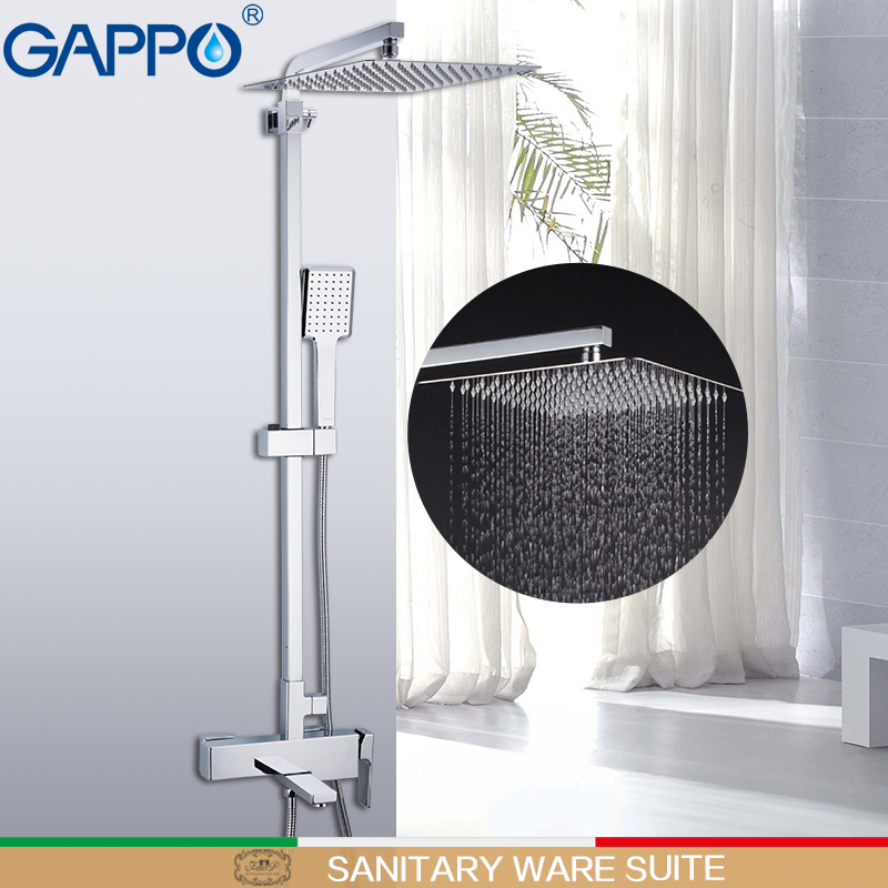 GAPPO Sanitary Ware suite brass massage shower set wall mounted torneira do anheiro faucets bathroom rainfall mixer shower